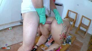 Horny big tited blonde gets a milk enema by the doctor  Video