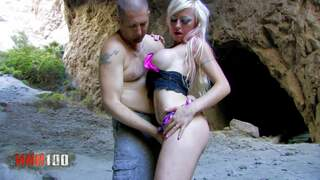 Hot threesome on the rocks! Video