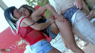 Public outdoor threesome with 2 hot latina MILF Video