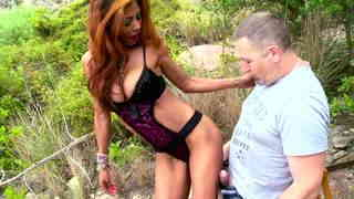 Naughty Brazilian goddess fucked in the woods Video