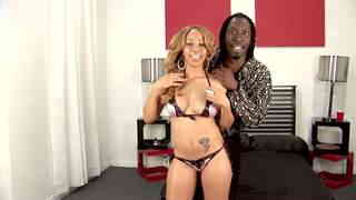 Big black cock for pretty mixed-raced babe Video